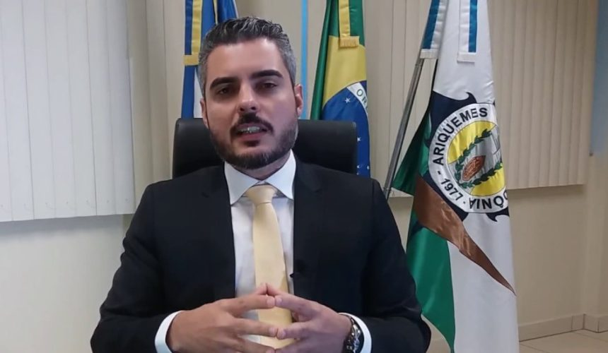 Mensagem do prefeito de Ariquemes, Thiago Flores, em agradecimento pelo Pacto pela Aprendizagem